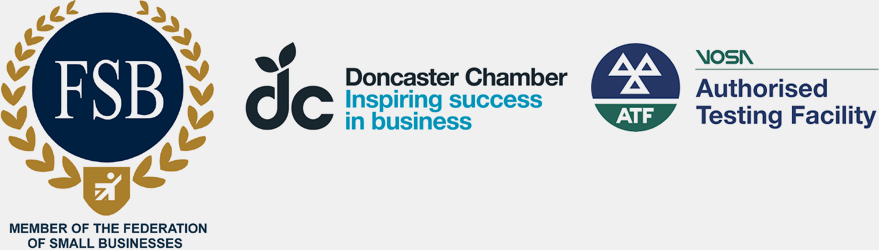FSB Logo, Doncaster Chamber of Commerce and VOS Authorised Testing Facility Logos