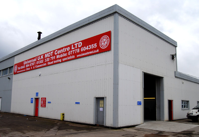 Universal UK Mot and Service Centre in Doncaster / Image shows MOT Test Centre Building